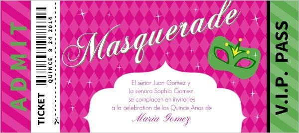Masquerade Party Pass Quinceanera Invitation Quinceanera Invitations