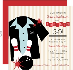 Tan Striped Bowling Shirt Birthday Invitation