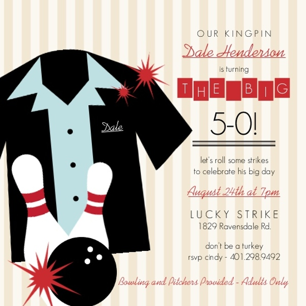 Tan Striped Bowling Shirt Birthday Invitation 50th Birthday