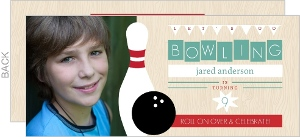 Woodgrain Photo Bowling Birthday Invitation