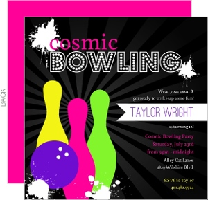 Black Neon Bowling Birthday Invitation