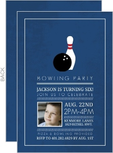 Dark Blue Photo Bowling Birthday Invitation