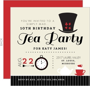 Tan Mad Hatter Tea Party Birthday Invitation