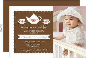 Brown Floral Tea Party Birthday Invitation