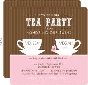 Pink and Brown Tea Cup Birthday Invitation