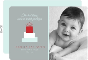 Gray Stack of Presents Photo Christmas Birth Announcement