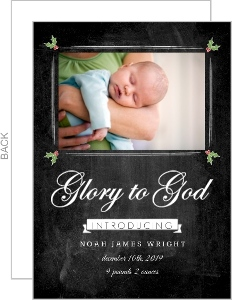 Photo Chalkboard Glory to God Christmas Birth Announcement
