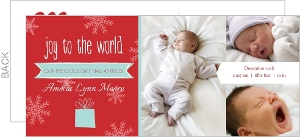 Red and Blue Snowflakes Multiphoto Christmas Birth Announcement