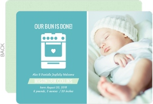 Blue and White Bun Birth Announcement