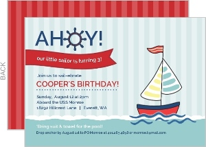 Pale Blue Striped Sailboat Birthday Invitation