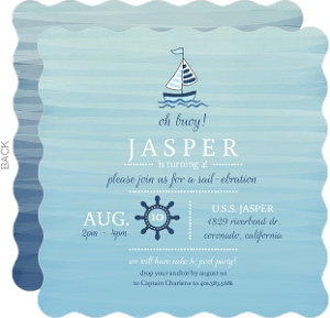 Pale Blue Watercolor Nautical Birthday Invitation