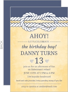 Weathered Yellow and Navy Nautical Knot Birthday Invitation