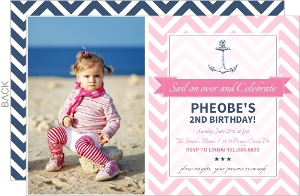 Pink Chevron Nautical Birthday Invitation