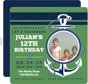 Green and Navy Anchor Birthday Invitation