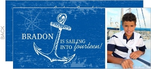 Weathered Blue and White Anchor Birthday Invitation