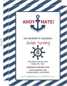 White and Navy Striped Nautical Birthday Invitation
