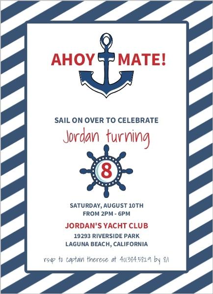 White and Navy Striped Nautical Birthday Invitation Kids Birthday
