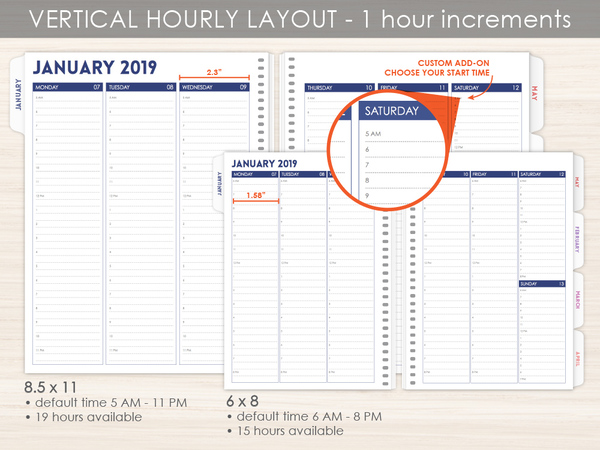 vertical hourly weekly planner pages by purpletrail