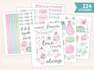 Watercolor Wedding Sticker Set