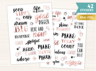 Real Foil Rose Gold Motivational Sticker Set