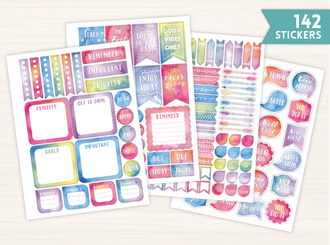 Teacher Watercolor Sticker Set