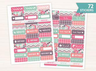 Pink And Mint Retro Banner Sticker Set