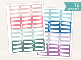 Jewel Tone Simple Flag Banner Sticker Set