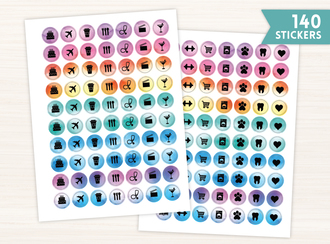 Simple Watercolor Icon Sticker Set
