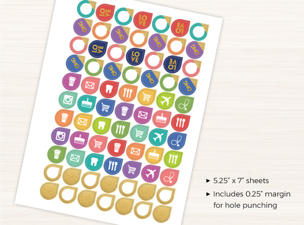 Colorful Gold Banner Sticker Set