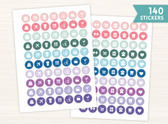 Jewel Tone Simple Icon Sticker Set