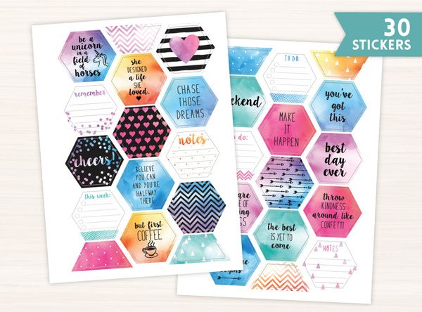 Boho Chic Watercolor Planner Sticker Set