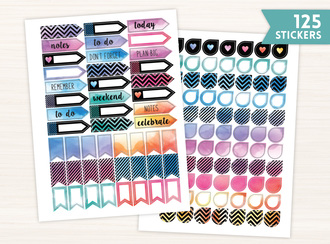 Boho Chic Watercolor Banner Sticker Set
