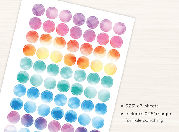 Simple Watercolor Circle Stickers