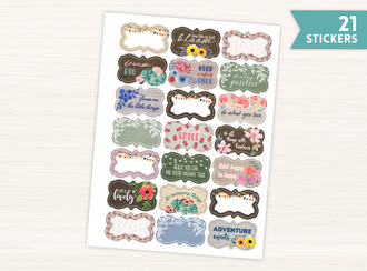 Rustic Floral Quote Stickers