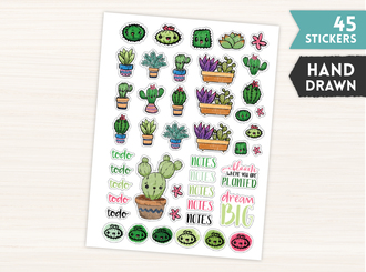 Cute Sketched Succulent Stickers