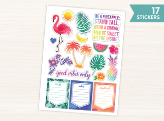 Tropical Watercolor Stickers