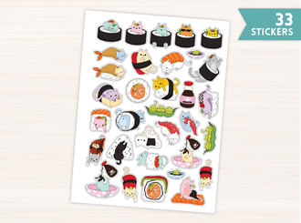 Cute Cat Sushi Stickers