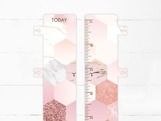 Marble Glitter Hexagon Pattern Snap-in Bookmark