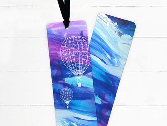 Blue Sky Balloon Ribbon Bookmark