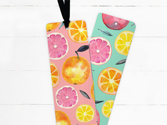 Fresh Citrus Watercolor Pattern Ribbon Bookmark