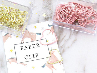 Pink & Gold Heart Paper Clips