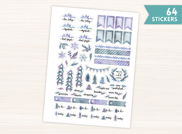 Winter Leaves Planner Stickers