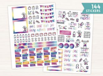 Fitness Cat Planner Sticker Set