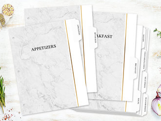 Faux Foil & Marble Recipe Binder Tabs