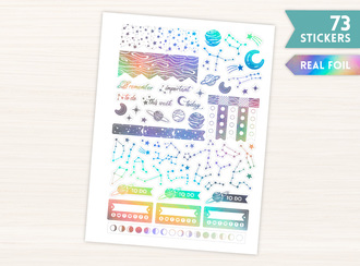 Real Foil Holographic Planets Stickers