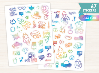 Real Foil Holographic Space Monsters Sticker Set