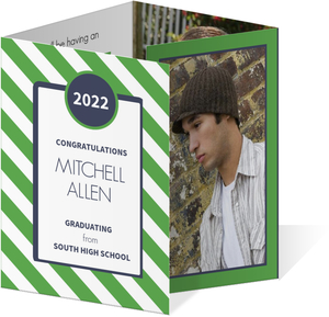 Green and Navy Striped Graduation Invite