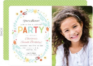 Girls birthday invitations girls birthday party invitations floral spring frame photo birthday invitation stopboris