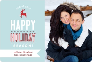 Blue And Red Reindeer Holiday Photo Cards Magnet