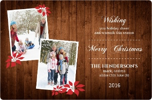 Wood Grain And Poinsettia  Holiday Photo Cards